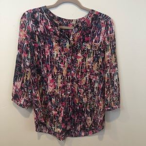 NYDJ Blouse 3/4 Sleeve Pleat Popover Abstract